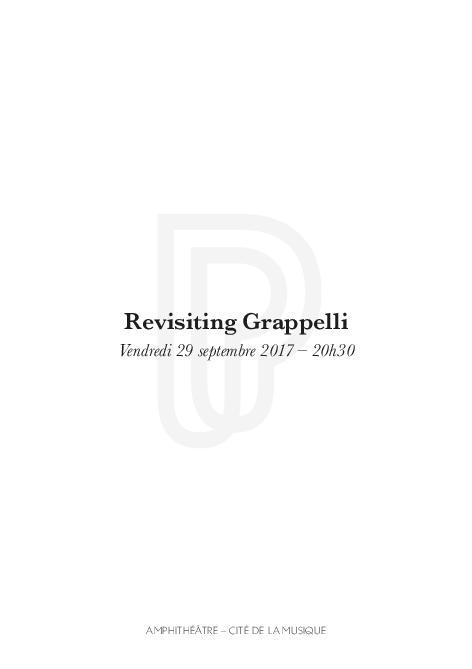 Revisiting Grappelli : vendredi 29 septembre 2017   Echard, Jean-Philippe (1975-....). Auteur