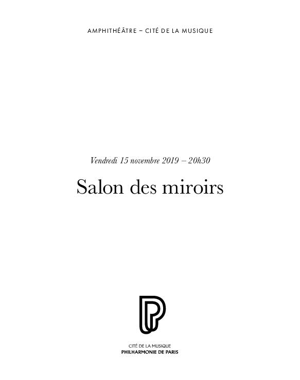 Week-end Versailles rêvé. Salon des miroirs : vendredi 15 novembre 2019 | Luzzati, Constance. Auteur